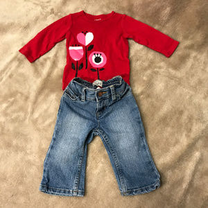 2 Piece shirt pant set Girls SZ 6 Mos